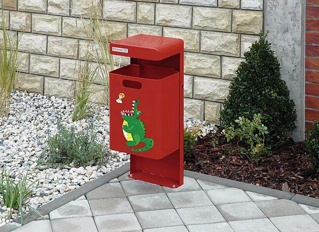 Abfallbehälter HALIFAX, zum Aufdübeln, in RAL 3000 feuerrot, kinderfreundliches Piktogramm nach Ihrer Wahl auf Anfrage gegen Mehrpreis erhältlich