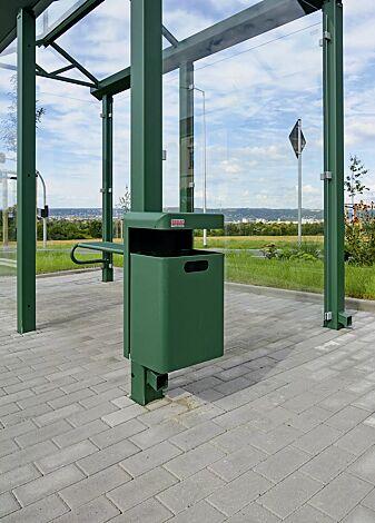 """<div id=""""container"""" class=""""container"""">Abfallbehälter HALIFAX, 35 Liter, ohne Ascher, zur Wandbefestigung, in RAL 6028 kieferngrün</div>"""