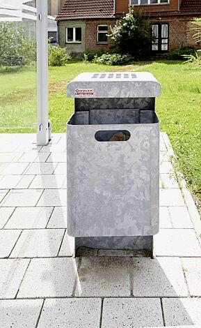 """<div id=""""container"""" class=""""container"""">Abfallbehälter HALIFAX, 35 Liter, mit Ascher, zum Einbetonieren, feuerverzinkt</div>"""