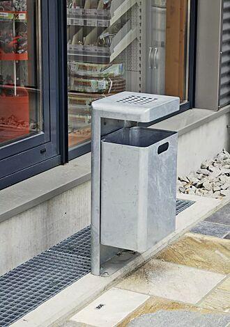 Abfallbehälter HALIFAX mit Ascher, zum Aufdübeln, feuerverzinkt