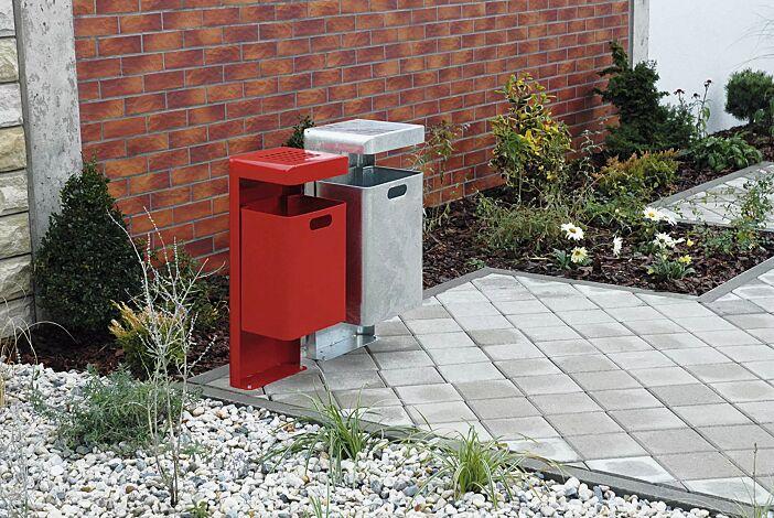 Abfallbehälter HALIFAX, 43 Liter, ohne Ascher, zum Aufdübeln, feuerverzinkt und Abfallbehälter HALIFAX, 35 Liter, mit Ascher, zum Aufdübeln, in RAL 3000 feuerrot