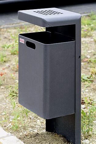 Abfallbehälter HALIFAX, 43 Liter, mit Ascher, zum Einbetonieren, in DB 703 eisenglimmer