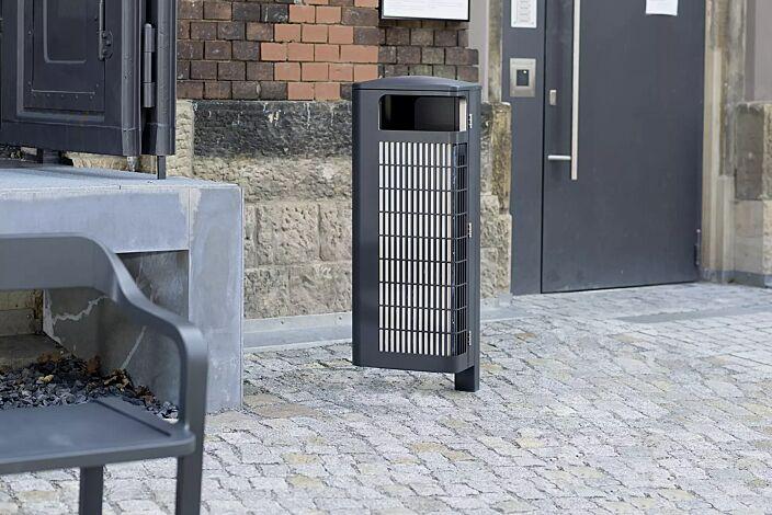 Abfallbehälter IMAWA mit Innenbehälter, in RAL 7016 anthrazitgrau