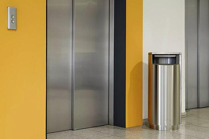 Abfallbehälter INBIN aus Edelstahl, 67 Liter, ohne Ascher, zum Aufdübeln