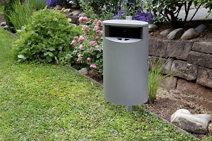 Abfallbehälter INBIN aus Stahl, 40 Liter, mit Ascher, zum Einbetonieren, in RAL 9007 graualuminium