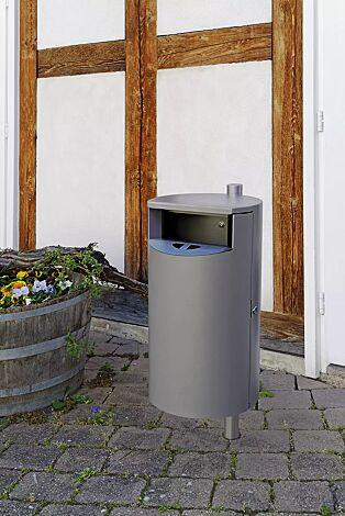 """<div id=""""container"""" class=""""container""""><div id=""""container"""" class=""""container"""">Abfallbehälter INBIN aus Stahl, 40 Liter, mit Ascher, zum Einbetonieren, in RAL 9007 graualuminium</div></div>"""