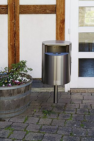Abfallbehälter INBIN aus Edelstahl, 32 Liter, mit Ascher, zum Einbetonieren