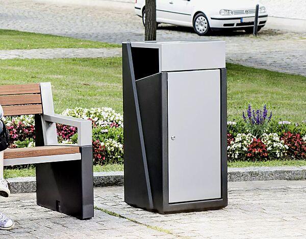 """<div id=""""container"""" class=""""container"""">Abfallbehälter INTAL mit Ascher, Schutzdach und Tür in RAL 9007 graualuminium, Beton in graphit</div>"""