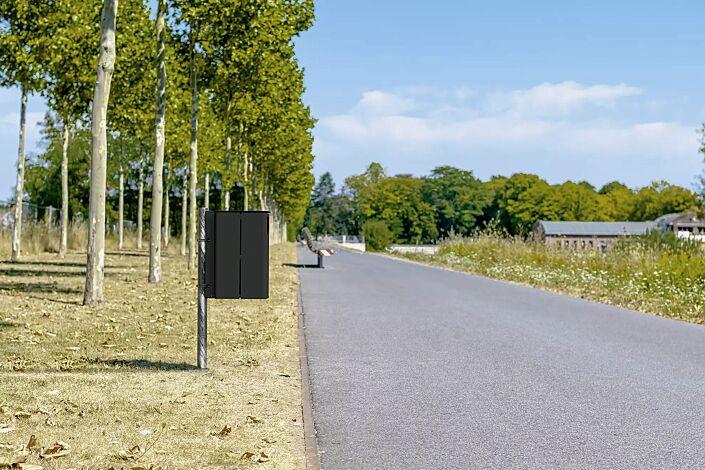 """<div id=""""container"""" class=""""container"""">Abfallbehälter KANATA ohne Ascher, mit Pfostenbefestigung zum Einbetonieren (Zubehör), in RAL 7021 schwarzgrau</div>"""
