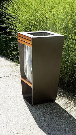 Abfallbehälter KARMA mit Abfallsackhalterung, Stahlteile in DB 703 eisenglimmer