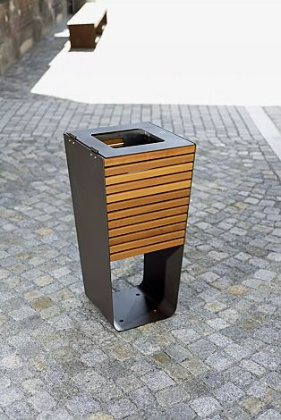 Abfallbehälter KARMA mit Innenbehälter, Stahlteile in DB 703 eisenglimmer
