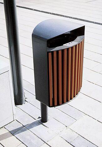 Abfallbehälter LENA mit Ascher, 30 Liter, mit Pfosten zum Aufdübeln, Korpus: Jatobaholzbelattung, Stahlteile in RAL 7016 anthrazitgrau