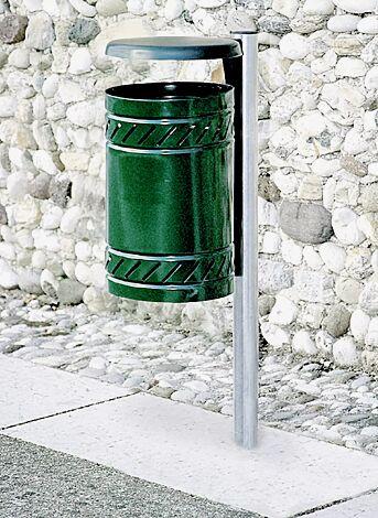 Abfallbehälter MAGGIOLINO mit Schutzdach, Behälter und Schutzdach in RAL 6005 moosgrün, feuerverzinkter Pfosten zum Einbetonieren