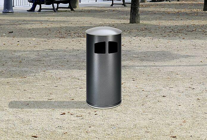 """<div id=""""container"""" class=""""container"""">Abfallbehälter MATANE, ohne Ascher, Korpus in antik-silber, Deckel in weißaluminium ähnlich RAL 9006</div>"""