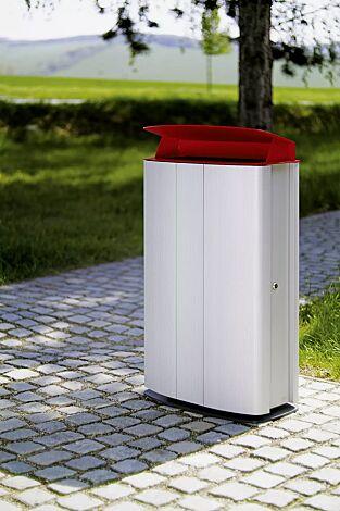 Abfallbehälter MAXIMINIUM, Stahlteile in RAL 3003 rubinrot und RAL 7016 anthrazitgrau