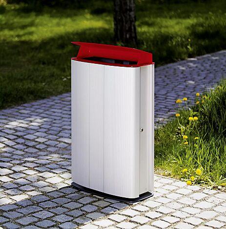 "<div id=""container"" class=""container"">Abfallbehälter MAXIMINIUM, Stahlteile in RAL 3003 rubinrot und RAL 7016 anthrazitgrau</div>"