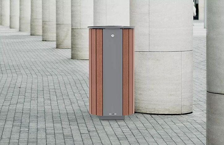 "<div id=""container"" class=""container"">Abfallbehälter MIANE mit Ascher, mit Sapeliholzbelattung, Stahlteile in RAL 9007 graualuminium</div>"