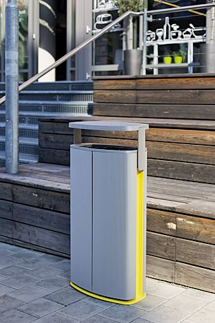 Abfallbehälter MINIUM mit Schutzdach, Standbehälter zum Aufdübeln, Stahlteile in Sonderfarbe (auf Anfrage)