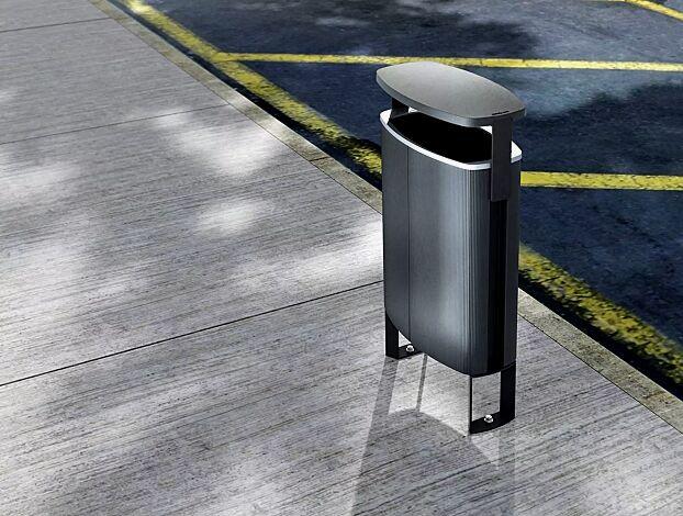 Abfalbehälter MINIUM mit Schutzdach, mit seitlichen Pfosten zum Aufdübeln, Korpus in Sonderfarbe (auf Anfrage), Stahlteile in RAL 9005 tiefschwarz