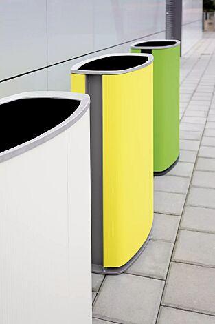 Abfalbehälter MINIUM zum Aufdübeln, Korpus in Sonderfarben (auf Anfrage), Stahlteile in RAL 7016 anthrazitgrau