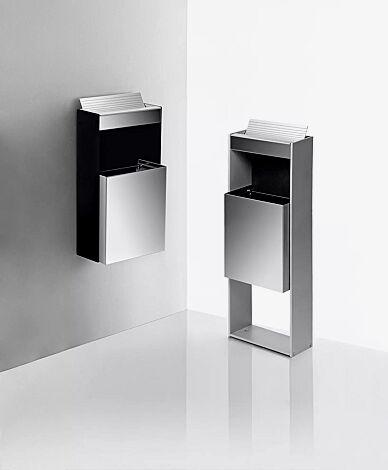Abfallbehälter MOROKA mit Ascher, 17 Liter, zur Wandbefestigung<br /> <br /> Abfallbehälter MOROKA mit Ascher, 19 Liter, zum Aufdübeln