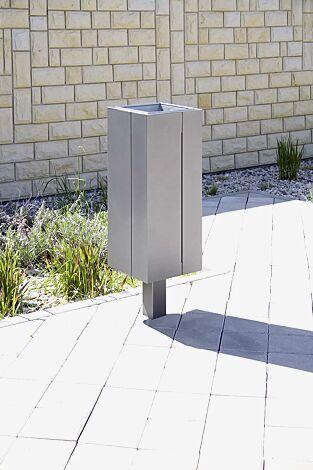 Abfallbehälter NANUK, Korpus: Edelstahlblech, Stahlteile in RAL 9007 graualuminium<br>