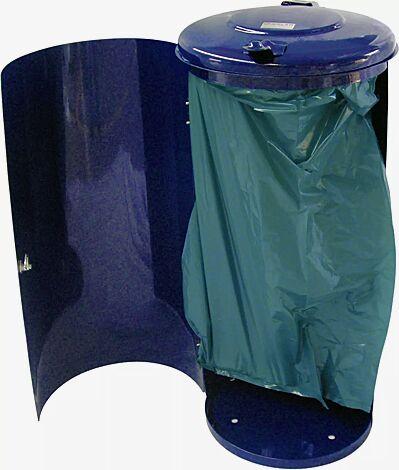 Abfallbehälter NEWPORT, 110 Liter, in RAL 6005 moosgrün, inkl. Pfosten zum Einbetonieren