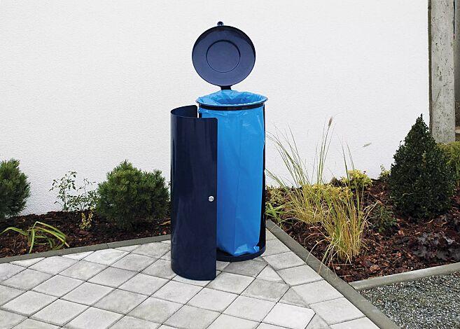 Abfallbehälter NEWPORT, 110 Liter, zum Aufdübeln, in RAL 5013 kobaltblau