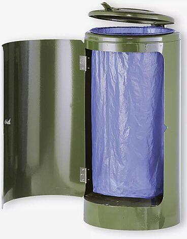Abfallbehälter NEWPORT, 120 Liter, in RAL 6002 laubgrün, zum Aufdübeln