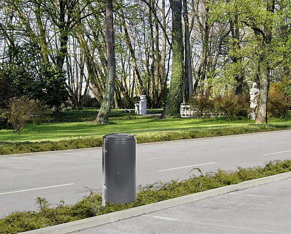 Abfallbehälter NEWPORT, zum Einbetonieren, in DB 703 eisenglimmer