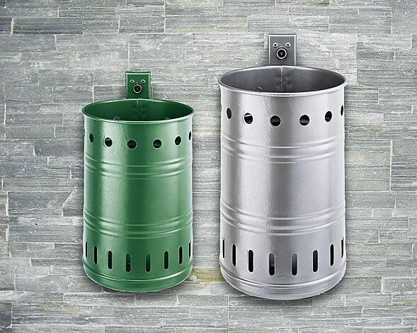 Abfallbehälter NOSTALGIA, mit Lochoptik, 20 Liter, in RAL 6005 moosgrün<br /> <br /> Abfallbehälter NOSTALGIA, mit Lochoptik, 35 Liter, in DB 703 eisenglimmer
