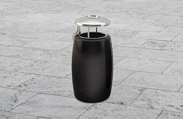"""<div id=""""container"""" class=""""container"""">Abfallbehälter ORIONE aus Marmor geschliffen, mit Edelstahl-Schutzdach und Ascher, in schwarz ebano</div>"""