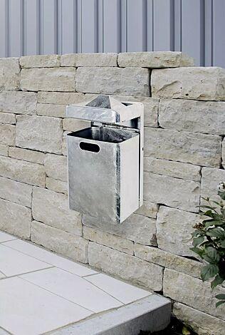 Abfallbehälter OXFORD mit Ascher, zur Wandbefestigung, feuerverzinkt