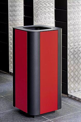 Abfallbehälter PAOSA, Stahlteile in DB 703 eisenglimmer, Korpus aus rotem Zedernholz