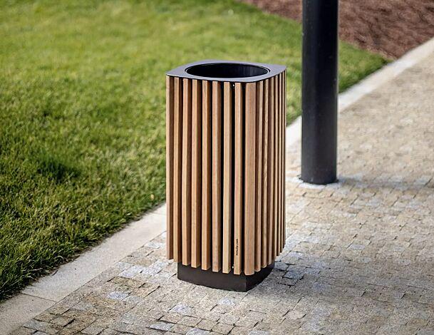 Abfallbehälter QUINBIN, quadratisch abgerundet, Korpus: Jatobaholzbelattung, Stahlteile in RAL 7016 anthrazitgrau