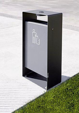 Abfallbehälter RADIUM mit Ascher, Rahmen in RAL 7016 anthrazitgrau, Behälter in RAL 9006 weißaluminium, Siebdruck in RAL 9003 signalweiß