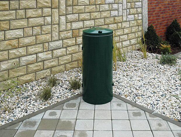 Abfallbehälter SOMERSET, zum freien Aufstellen, in RAL 6005 moosgrün