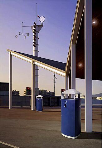 Abfallbehälter SOREL, mit Schutzdach und Ascher, Korpus in saphirblau ähnlich RAL 5003