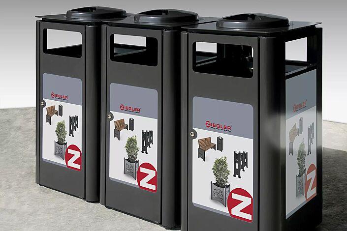 Abfallbehälter SQUARE TRIO in Sonderausführung auf Anfrage (Korpus mit Alu-Dibond auf Kundenwunsch bedruckt)