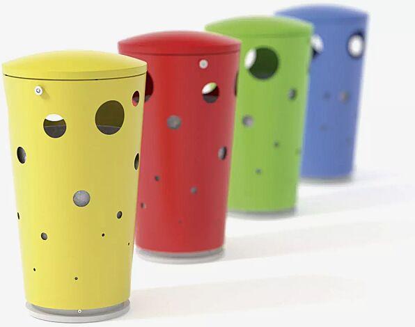Abfallbehälter SWISSBIN zum freien Aufstellen, in RAL 1021 rapsgelb, RAL 3020 verkehrsrot, RAL 6018 gelbgrün, RAL 5015 himmelblau