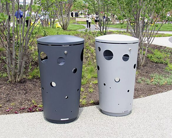 Abfallbehälter SWISSBIN zum Aufdübeln, in RAL 7016 anthrazitgrau und RAL 9006 weißaluminium