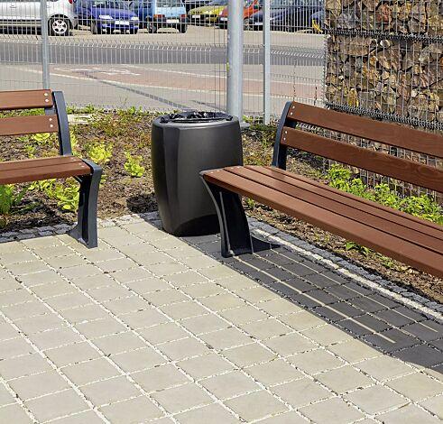 Abfallbehälter TALLIN in RAL 7016 anthrazitgrau und Sitzbank TALLIN mit Rückenlehne, Stahlteile in RAL 7016 anthrazitgrau