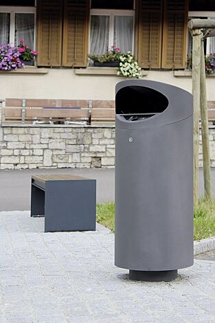 Abfallbehälter TOLUCA mit Ascher, in RAL 7016 anthrazitgrau