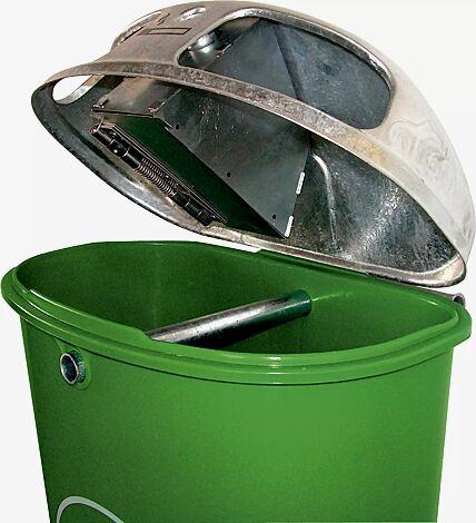 Abfallbehälter TORBAY, mit Ascher, Behälter in smaragdgrün ähnlich RAL 6001