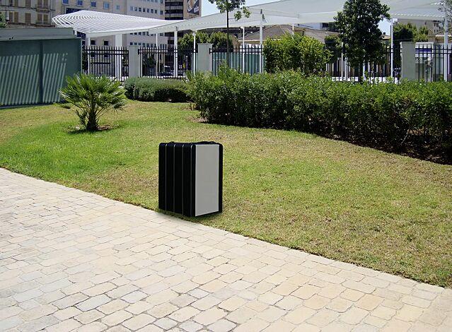 Abfallbehälter VEGA mit Ascher, ohne Schutzdach, Beton in graphit, Stahlteile in RAL 9007 graualuminium