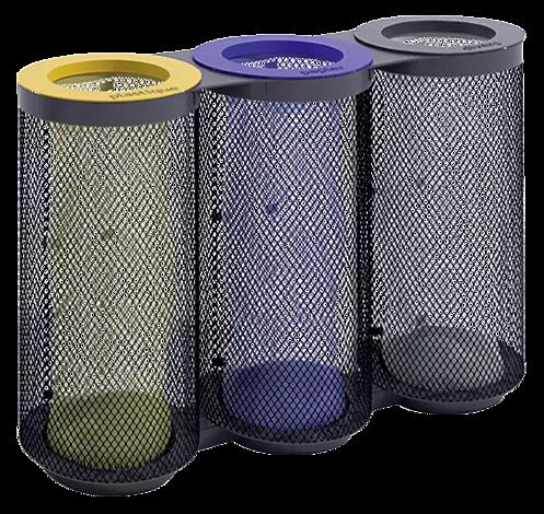 Abfallbehälter AEROPORTO TRIO in RAL 7016 anthrazitgrau, mit farbigen Ringen (auf Anfrage)