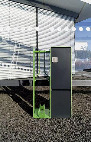 Fahrrad-Abstellanlage VELO-CONNECTOR mit Ladeschließfach und Radeinstellung links, Zugang mittels PIN-Eingabe, Stahlteile in RAL 7016 anthrazitgrau / RAL 6018 gelbgrün