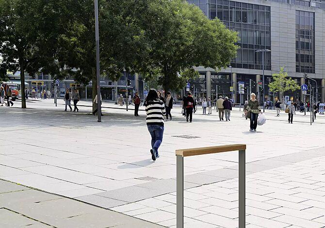 Anlehnbügel UTAH mit Sapeli-Holzlatte, ohne Quersteg, zum Einbetonieren, in DB 701 eisenglimmer