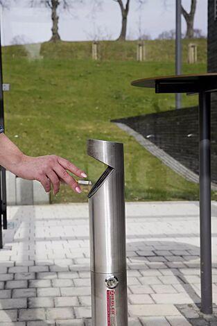 Standascher LENOX zum Aufdübeln, Behälterkopf schräg, aus Edelstahl V2A, geschliffen
