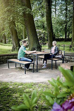 Bank-Tisch-Kombination CAMILLA mit Sapeliholzbelattung, bestehend aus Sitzbank mit und ohne Rückenlehne und einem Tisch, Stahlteile in RAL 7016 anthrazitgrau